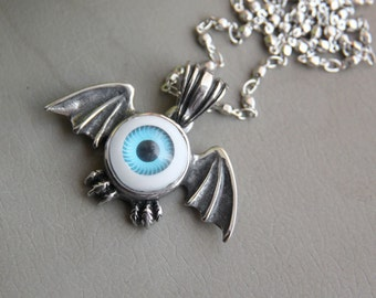 Eyeball necklace etsy bat with a eyeball necklace stainless steel necklace halloween party unisex jewel aloadofball Choice Image