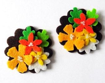 Aplique flores, aplique fieltro, aplique listo para usar, aplique para diademas, adornos