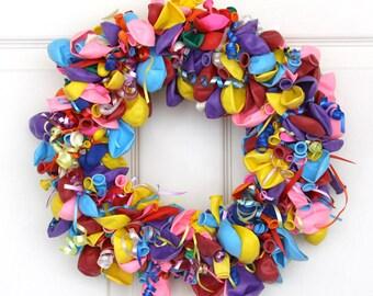 Colorful Balloon Wreath, Birthday Balloon, Kids Birthday Party Decorations