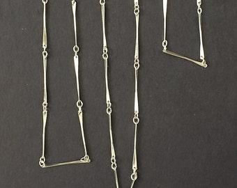 Vintage Bar Chain, Twist Bar Chain, Matte Silver Bar Chain, 3Ft
