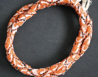 African Beads, Krobo Recycled Glass Tubes from Ghana, Pretty and Cheery Orange,  One Strand