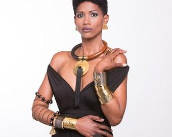 Tassel necklace, african jewelry, statement necklace, tribal necklace, tribal jewelry, Long tassel necklace, lAfrican leather necklace