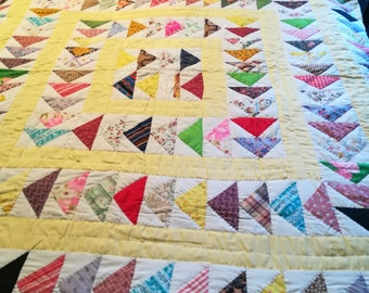 Wonderful Flying Geese Pattern Quilt, Full size, Hand Stitched, Bright colors