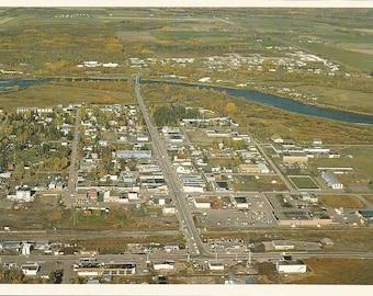 Vintage 1980s Postcard Vanderhoof British Columbia BC Canada Northern Interior Aerial Town View Photochrome Postally Unused