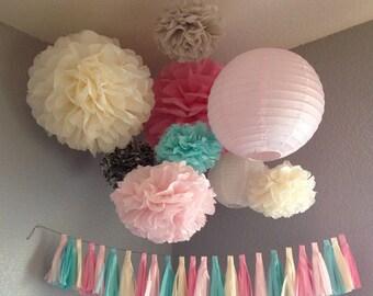 Tissue Paper Tassel Garland - Wedding Decoration - Nursery Child's room Decoration - Paper Decoration