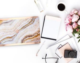 Macbook Pro 13 Case Macbook Air Case Laptop Case Macbook Decal Pina Onyx Marble and Rose Gold Chrome Edge               Precious Stones