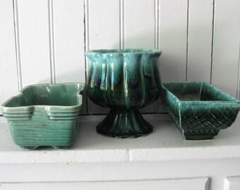 Trio of Teal Green Vintage Planters