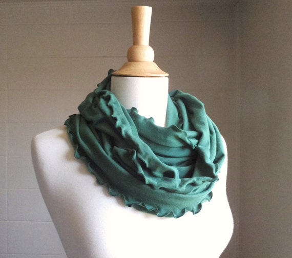 Emerald Green Infinity Scarf Cotton jersey ruffle circle cowl scarf gift accessory jade green scarves winter accessories