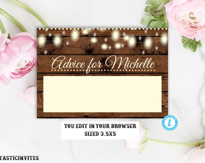 Advice for the Bride Template, Advice Card Template, Shower Game, Bridal Shower Game, Instant Download, Advice Card, Bridal Shower Insert