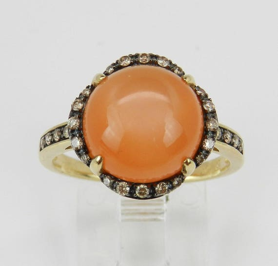 SALE Diamond and Peach Cats Eye Ring Halo Promise Ring Yellow Gold Size 7.25 Free Sizing