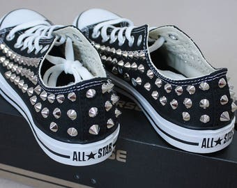 Genuine CONVERSE All-star Black low-top studed Sneakers Sheos High-quality authentic