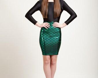 Ariel Green Mermaid Bodycon Pencil Skirt in Metallic Holographic Sparkles