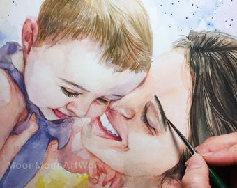 mother's day gift, Custom Portrait, child portrait, Handmade, Original watercolor painting, Custom family Portrait, Personalized gift