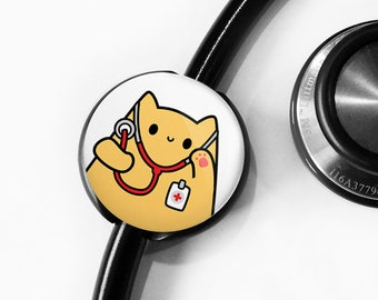 Cat Stethoscope Tag, Personalized Stethoscope ID tag, Nurse Gift, Doctor Gift, Custom Stethoscope Tag, Veterinarian Stethoscope, roocharms