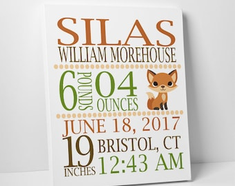 Woodland Baby Shower, Fox Nursery, Gift for Godchild, Birth Canvas or Print, Baptism Gift, Christening Gift, Dedication Gift, Communion Gift