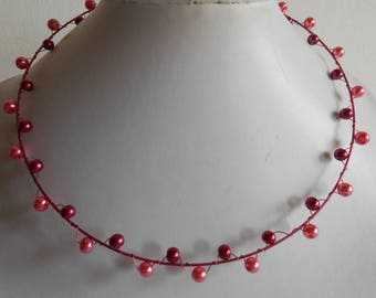 Plum pink wired bridal necklace