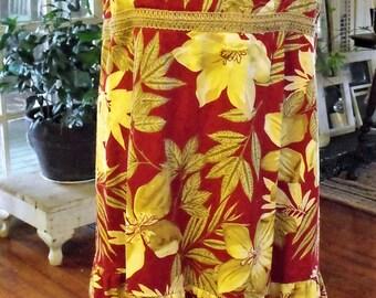Retro R&K Originals Size 14 Sundresss/Cotton Spandex ruffled Sundress/ Button Straps, Elastic Shirred Back/ Floral Print/ Shabbyfab Funwear