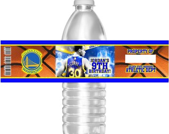15 Waterproof Basketball Golden State Warriors Birthday Party Water Bottle Labels 16.9 oz Water Mini Water Party Favors Stephen Curry