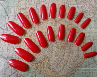 20 Fire Engine Red Press On Nails