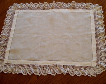 Linen tray cloth with crochet trim