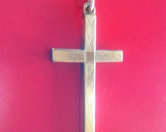 Clearance Sale Art Deco 12K Gold Filled Engraved Cross Pendant