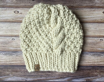 The Luxury Blackcomb // Cream // Cabled Beanie // Chunky Knit Hat // Faux Fur Pom Pom // Handknit Hat // Wool Hat