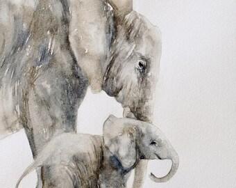 nursery art print for nursery baby elephant painting of elephant  peek a boo animal print SEE PHOTOS to view all 15 PRINTS 11x14