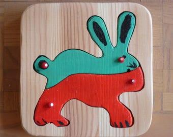 Handmade puzzle of solid wood - rabbit