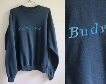 Vintage 90s Budweiser Sweatshirt // Spell Out Beer Logo Pullover // Blue Bud Embroidered Shirt // Frat Boy Animal House Mens XXL