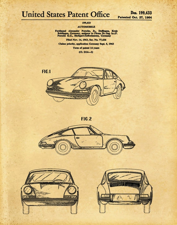 Patent 1964 Porsche 911 Carrera Sports Car Poster Wall