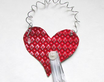 Metal Heart Ornament - Red Heart Ornament - Valentine Heart - Heart Wall Decor - Recycled Ornament - Eco Friendly Ornament