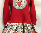 Girls Long Sleeve Red Dress with  Native Girl Appliqué
