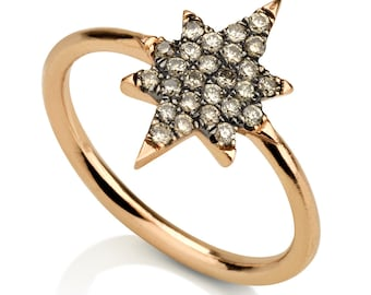 North star ring, diamond pinky ring, rose gold ring, star ring, trendy ring, diamond star ring, gift for her, champagne diamond