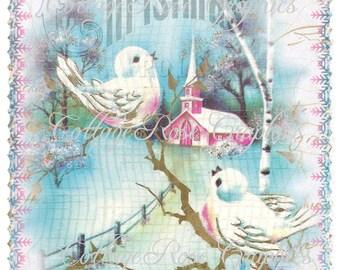 Pink CHRISTMAS BIRDS vintage shabby cottage  Large digital download  ECS buy 3 get one free
