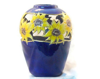Ceramic Sunflower Vase - Sunflower Cut Out Vase - Cobalt Blue Sunflower Vase