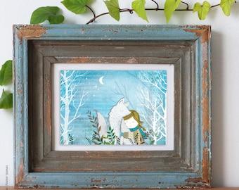 Imprime les Illustrations - hiver Fox - tentures murales, Art mural, art print