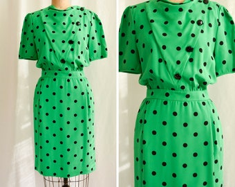 Valentino | Vintage 1980's Dress Kelly Green and Black Polka Dot Silk Day Dress Asymmetrical Button Front Side Pockets Made in Italy Size 8