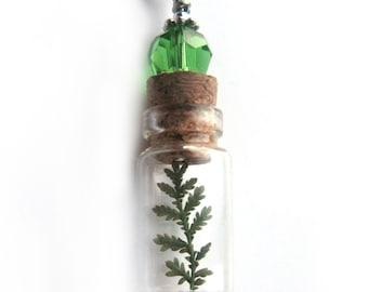 Tiny Fern Glass Bottle Necklace - Tiny Fern in Glass Vial -  Pressed Flower Jewelry - Glass Bottle Pendant -  Botanical Jewelry