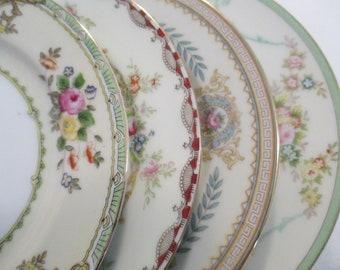 Vintage Mismatched China Dessert Plates, Bread Plates for Farmhouse, Shabby, Rustic, Tea Party, Wedding, Hostess Gift, Tea Plates - set of 4