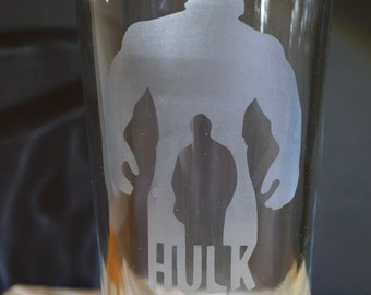 Superhero HULK Homemade Hand Etched Tumbler A Must Have!!