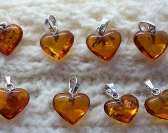Amber heart pendant with sterling silver, Natural baltic amber heart pendant, Amber heart pendant honey cognac amber hearts 1.1 gram