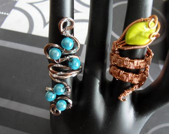 COPPER WIRE AND BEADS ADJUSTABLE RINGS