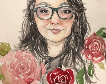 Watercolor portrait of a loved one with floral arrangement