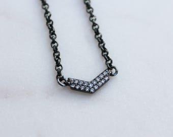 Lyra Gunmetal Pave Layering Choker Necklace