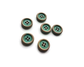 Aqua Button 15mm - set of 6 wood buttons