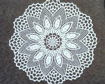 D-58. Crochet doily / 43cm / White Doily / Crochet Lace Doily / Round Doily / Inspiration