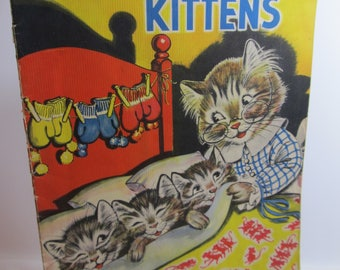 1936 The Three Little Kittens large book; Merrill Publishing Co., MILO WINTER illustrations; vintage collectible child's book