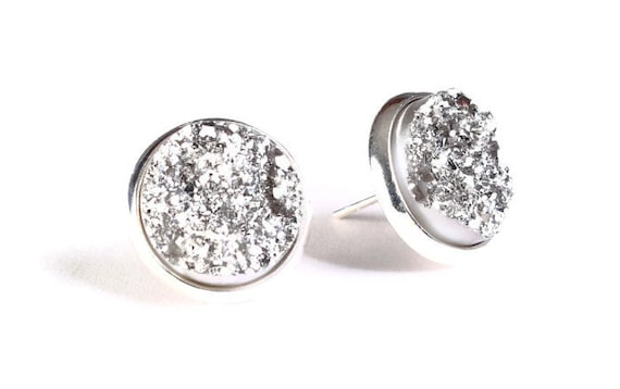 Silver textured stud earrings - Faux Druzy earrings - Post earrings - Nickel free earrings (787)
