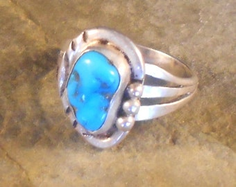 Navajo Sterling Silver Ring With Free Form Bright Blue Turquoise Nugget Triple Shank US Ring Size 7 1/2 Southwestern Jewelry Gift For Her