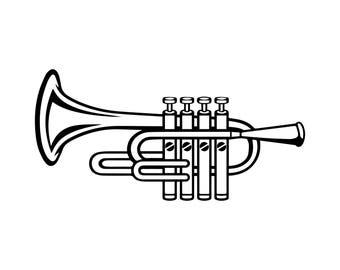 trumpet clipart etsy rh etsy com trumpet clipart black and white trumpet clipart black and white